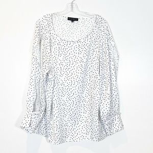 Eloquii Scoop Neck Split Long Sleeve Blouse NWT